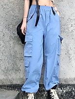 cheap -Women's Basic Outdoor Loose Daily Pants Tactical Cargo Pants Solid Colored Full Length High Waist Black Blue