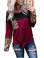 cheap -women long sleeve leopard printed shirts pullover color block splicing tops with leopard pocket (dark red l)