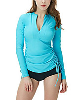cheap -women's half-zip front rash guard, upf 50+ side adjustable long sleeve swim shirts, uv/sun protection wetsuit swimsuit top, unique(fsz04) - sky blue, x-small