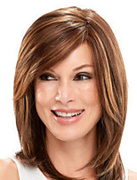 cheap -Synthetic Wig Natural Straight Asymmetrical Wig Medium Length Light Brown Dark Brown Synthetic Hair Women's Fashionable Design Classic Exquisite Dark Brown Light Brown