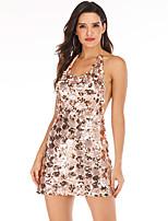 cheap -Women's A-Line Dress Short Mini Dress - Sleeveless Solid Color Backless Sequins Split Summer Sexy 2020 Gold S M L XL