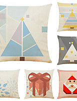 cheap -Set of 6 Christmas Geometry Linen Square Decorative Throw Pillow Cases Sofa Cushion Covers 18x18