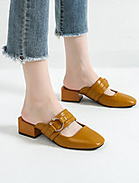 cheap -Women's Sandals Block Heel Closed Toe Classic Vintage Preppy Daily Home Faux Leather Button Solid Colored Black Brown