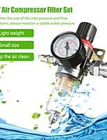 cheap -1/4'' Air Compressor Filter Water Separator Trap Tools Kit Oil Water Separator Regulator Lubricator With Regulator GaugeJapanese connector