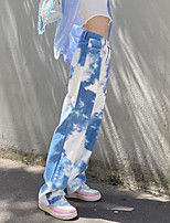 cheap -Women's Basic Breathable Slim Daily Chinos Pants Tie Dye Full Length High Waist Blue