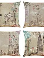 cheap -Set of 4 Retro Building Linen Square Decorative Throw Pillow Cases Sofa Cushion Covers 18x18