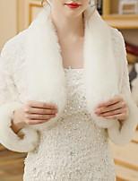 cheap -Long Sleeve Shawls Faux Fur Wedding Women's Wrap With Trim