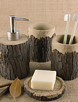 cheap -Bathroom Accessories Set 4 Pieces of Resin Complete Bathroom Set for Bathroom Decoration Include Soap Dispenser Soap Dish 2 Mouthwash Cups Home & Hotel