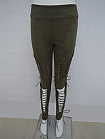 cheap -Women's Basic Breathable Slim Daily Tights Pants Solid Colored Full Length Cut Out High Waist Black Army Green Khaki
