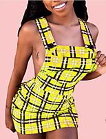 cheap -Women's Strap Dress Short Mini Dress - Sleeveless Print Patchwork Fall Sexy 2020 Yellow Wine Dusty Blue S M L XL