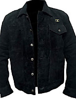 cheap -men's rip cowboy black suede leather jacket (l)