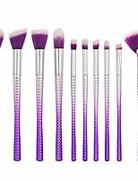 cheap -makeup brush thin waists makeup brushes premium makeup brush set synthetic fiber bristles kabuki makeup brush kit purple silver 10 pieces