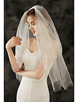 cheap -Two-tier Basic / Sweet Wedding Veil Elbow Veils with Faux Pearl / Beading 25.59 in (65cm) Tulle