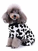cheap -pet pajamas,pet dog cat cow print plush pajamas warm clothes puppy apparel clothing (l, white)