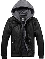 cheap -men's faux leather motorcycle vintage bomber slim jacket with removable hood (black,large)
