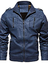 cheap -men's winter quilted sherpa lined moto distressed faux leather biker jacket (x-large, blue)