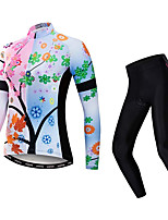 cheap -21Grams Women's Long Sleeve Cycling Jacket with Pants Winter Pink Bike Warm Sports Graphic Mountain Bike MTB Road Bike Cycling Clothing Apparel / Stretchy / Athletic