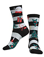 cheap -Crew Socks Compression Socks Calf Socks Athletic Sports Socks Cycling Socks Men's Women's Bike / Cycling Breathable Soft Comfortable 1 Pair Santa Claus Cotton Black / White S M L / Stretchy