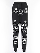 cheap -Women's Basic Breathable Slim Daily Tights Pants Letter Full Length Black