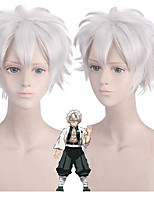 cheap -Demon Slayer: Kimetsu no Yaiba Cosplay Cosplay Wigs Men's Layered Haircut 12 inch Heat Resistant Fiber Curly Silver Teen Adults' Anime Wig