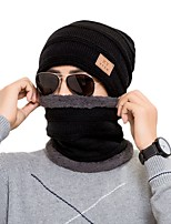 cheap -Men's Hiking Cap Beanie Hat 1 set Winter Outdoor Windproof Warm Soft Thick Neck Gaiter Neck Tube Skull Cap Beanie Solid Color Polyester Taffeta Black Burgundy Grey for Fishing Climbing Running