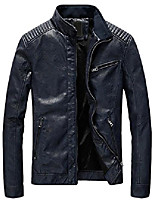 cheap -but& #39;s casual zip up slim bomber faux leather jacket & #40;x-large, yh-fleece-dark blue& #41;