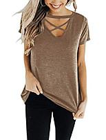 cheap -women& #39;s short sleeve criss cross tops casual v neck choker t shirt tees