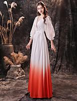 cheap -A-Line Maxi Boho Holiday Formal Evening Dress Jewel Neck Long Sleeve Floor Length Chiffon with Sleek 2020