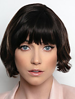 cheap -Synthetic Wig Curly Bob With Bangs Wig Short Brown Blonde Synthetic Hair 6 inch Women's Fashionable Design Exquisite Fluffy Blonde Brown