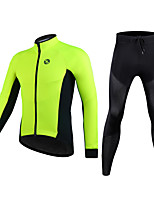 cheap -Men's Women's Long Sleeve Cycling Jersey with Tights Winter Fleece Polyester Black Green Solid Color Bike Clothing Suit Thermal Warm Fleece Lining Breathable Quick Dry Reflective Strips Sports Solid