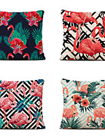 cheap -Cushion Cover 4PC Linen Soft Decorative Square Throw Pillow Cover Cushion Case Pillowcase for Sofa Bedroom 45 x 45 cm (18 x 18 Inch) Superior Quality Mashine Washable Flamingo Pattern