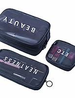 cheap -high grade mesh travel makeup bag organizer translucent clear travel toiletry bag quick pass airport security (black large)