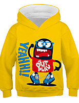 cheap -Kids Toddler Boys' Active Streetwear Graphic Letter Print Long Sleeve Hoodie & Sweatshirt Yellow