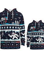 cheap -Daddy and Me Active Santa Claus Graphic 3D Print Print Long Sleeve Regular Hoodie & Sweatshirt Black