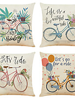cheap -Set of 4 Creative Bike Linen Square Decorative Throw Pillow Cases Sofa Cushion Covers 18x18