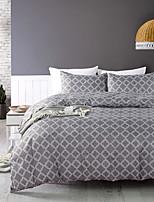 cheap -Geometry Bedding Solid color Duvet Cover Set Plaid Black Boys Girls Bedding Sets Queen 1 Duvet Cover 2 Pillowcases