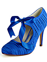 cheap -Women's Wedding Shoes Stiletto Heel Round Toe Sweet Wedding Party & Evening Ribbon Tie Solid Colored Satin White / Champagne / Royal Blue