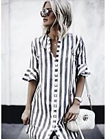 cheap -Women's Blouse Shirt Striped Patchwork Shirt Collar Tops Basic Basic Top Blue Gray