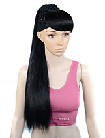 cheap -Synthetic Wig kinky Straight With Bangs With Ponytail Wig Long Natural Black #1B Synthetic Hair Women's Cosplay Creative New Arrival Black