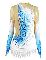 cheap -21Grams Rhythmic Gymnastics Leotards Artistic Gymnastics Leotards Women's Girls' Kids Leotard Spandex High Elasticity Handmade Long Sleeve Training Dance Rhythmic Gymnastics Artistic Gymnastics Blue