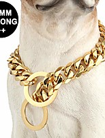 cheap -custom ultra strong 19mm 14k gold plated slip chain dog collar - for pit bull mastiff bulldog small dogs