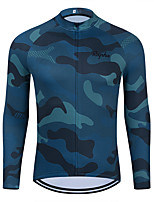cheap -WECYCLE Men's Women's Long Sleeve Cycling Jersey Winter Blue Camo / Camouflage Bike Top Mountain Bike MTB Road Bike Cycling Breathable Sports Clothing Apparel / Stretchy / Athletic