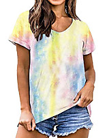 cheap -t shirts for women tie dye v neck short sleeve t-shirt loungewear tee tops (medium, yellow)