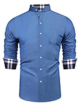 cheap -men's sport outdoors shirt climbing camping travel tour work denim dress shirt button down shirt light blue
