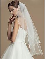 cheap -bride 2 tier wedding veil with comb short bridal veil pencil edge for bachelorette party & #40;white& #41;