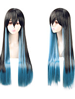 cheap -Cosplay Cosplay Cosplay Wigs Unisex Neat Bang 80 inch Heat Resistant Fiber Natural Straight Black Anime Wig