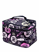 cheap -travel toiletry makeup wash bag for cosmetics and grooming kit -black flower