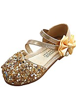 cheap -girls toddler glitter ballet flat round-toe bow ballerina dance shoes princess wedding party mary janes gold