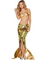 cheap -Mermaid Cosplay Costume Costume Women's Movie Cosplay Euramerican Exotic Dancewear Golden Skirts Top Christmas Halloween Carnival Polyester / Cotton