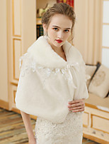 cheap -Half Sleeve Shawls Faux Fur Wedding Women's Wrap With Lace / Lace-up